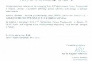 certyfikat autoryzowanego wykonawcy